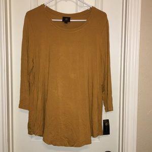 NWT 3/4 sleeve mustard yellow t shirt